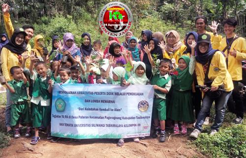 KKN Mahasiswa UNSIL di Desa Puteran Tanam 100 Pohon Bersama Siswa TK