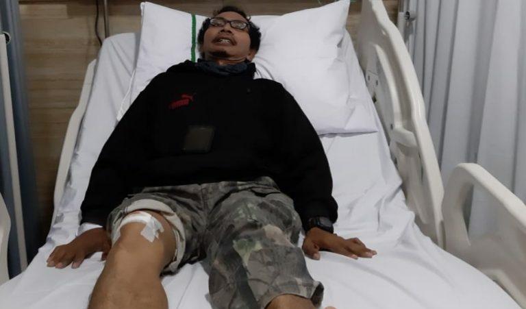 Hasan, Wartawan Media Online Kabartoday.co.id, saat terbaring di RSPAD