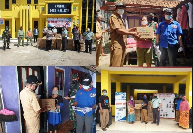 Simbolis Penyerahan bantuan sembako kepada pihak pemerintah Desa. Foto: Saripudin